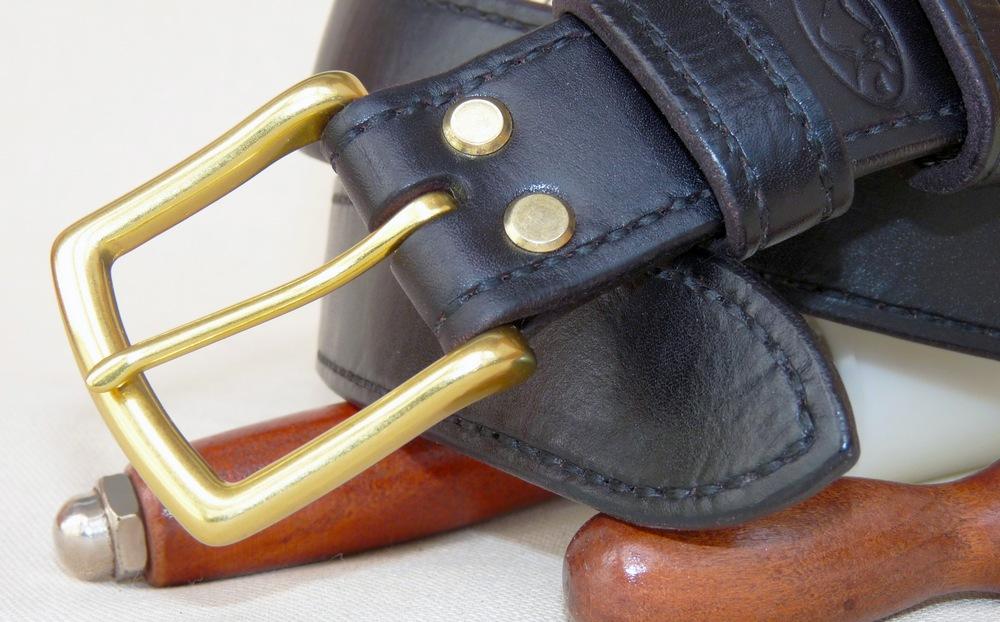 Кожаный ремень чёрный буйвол