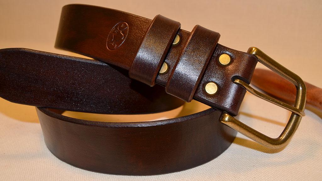 Широкий кожаный ремень ручной работы, кожа буйвола